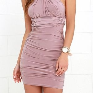 Lavender Rouched Mini Convertible Dress